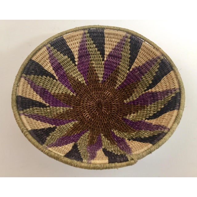 1960s Native American Polychrome Seagrass and Silk Woven Basket For Sale - Image 5 of 12