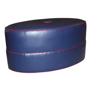 Modern Robert Allen Duralee Group Navy & Red Montecito-Elliptical Tight Ottoman For Sale