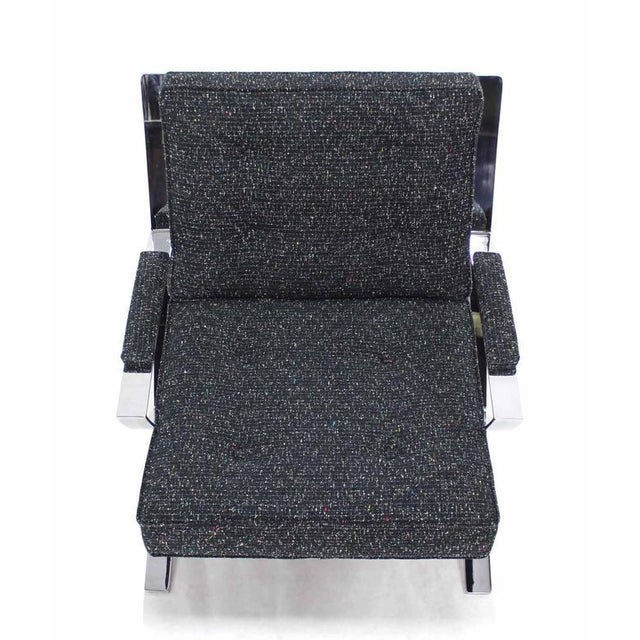 Gray Scissor X-Base Chrome Lounge Chair with New Upholstery For Sale - Image 8 of 9