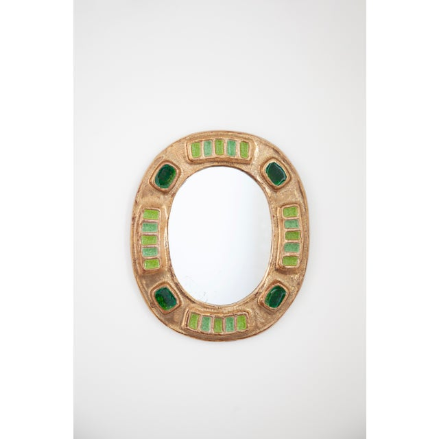 Mid-Century Modern 1970's Francois Lembo Mirror Oval Gold With Multi Green Inlay For Sale - Image 3 of 6