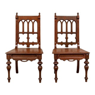 Vintage Gothic Revival Hall Chairs - a Pair For Sale