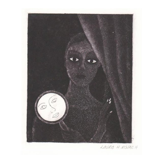 Laura Rojas Aquatint of Lady Holding Mirror For Sale