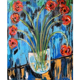 """""""I Brought You Flowers"""" Contemporary Abstract Still Life Mixed-Media Painting by Monica Shulman For Sale"""
