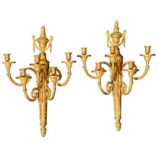 Adams Style Five Arm Tassel Decorated Dore Bronze Wall Candelabras - a Pair For Sale - Image 13 of 13