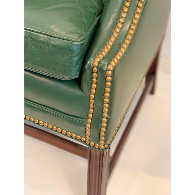 Mid 20th Century Vintage Mid Century Hancock & Moore Emerald Green Leather Wing Chairs- A Pair For Sale - Image 5 of 10