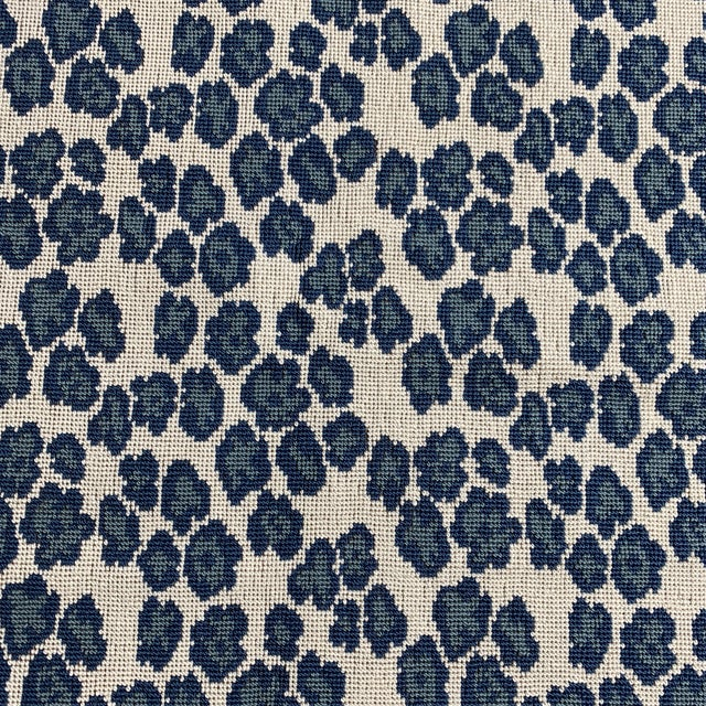 Designer Blue Leopard Spot Heavy Weight Fabric For Sale