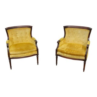 1960s Vintage Sam Moore Gold Chenille Barrel Back Chairs- A Pair For Sale