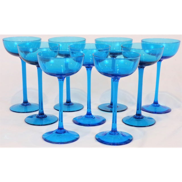 Turquoise 1960's Italian Blue Champagne Coupes - Set of 9 For Sale - Image 8 of 9