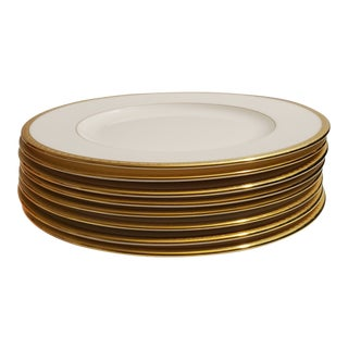Lenox Tuxedo Salad Plates with Gold Trim - Set of 8 For Sale