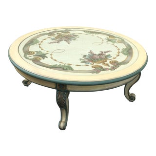 French Country Paint Decorated Coffee Table With Bevelled Glass Insert For Sale