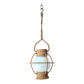 Vintage Audoux Minet Rope Lantern Chandelier For Sale