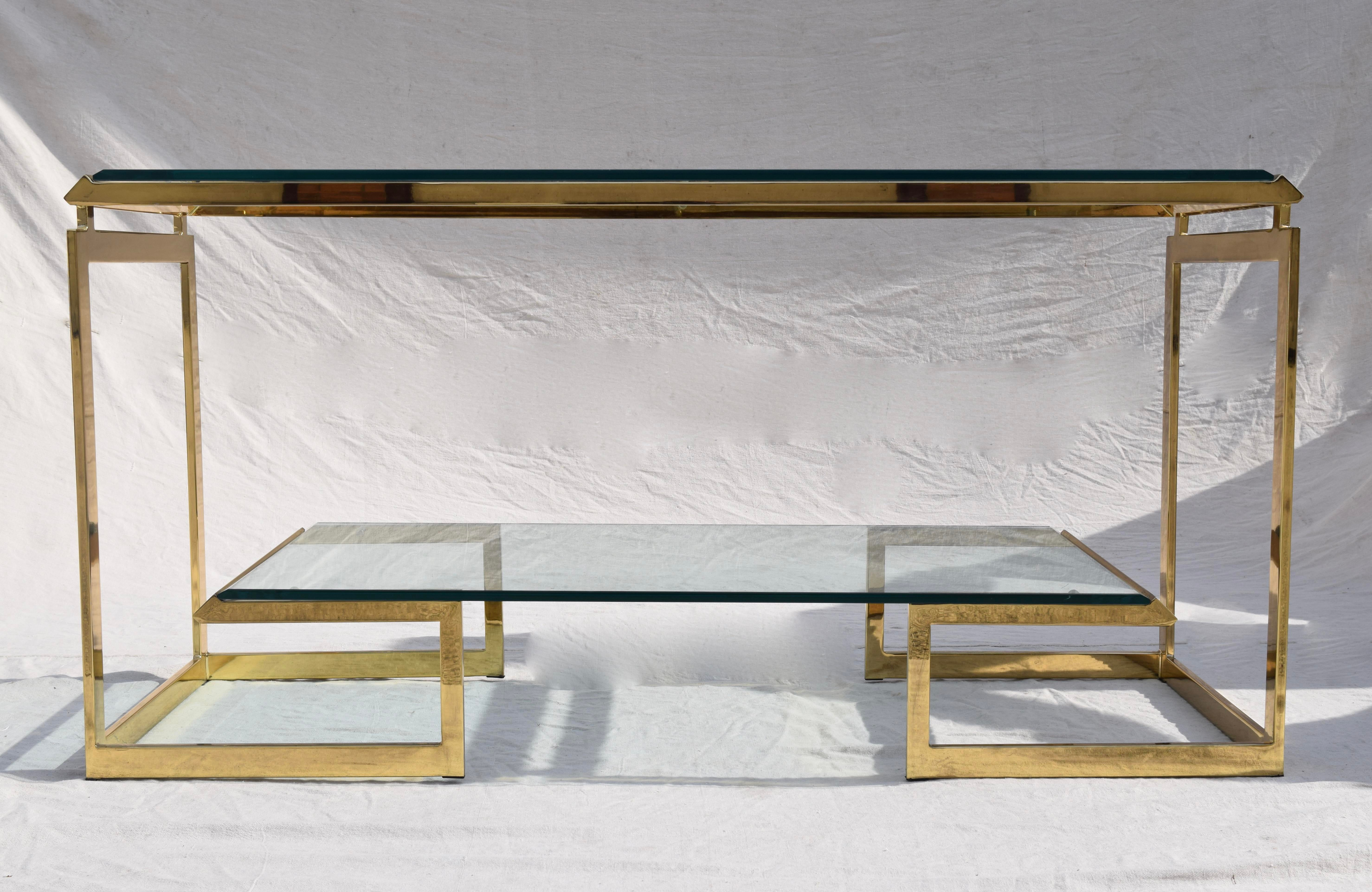 Milo Baughman DIA Brass Glass Console TableServer Chairish