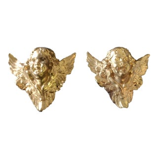 Angels /Putti Golden Wall Hangings - a Pair For Sale