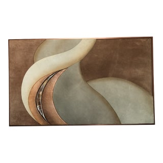 1970s Modern Suede Leather Framed Artwork Signed M For Sale