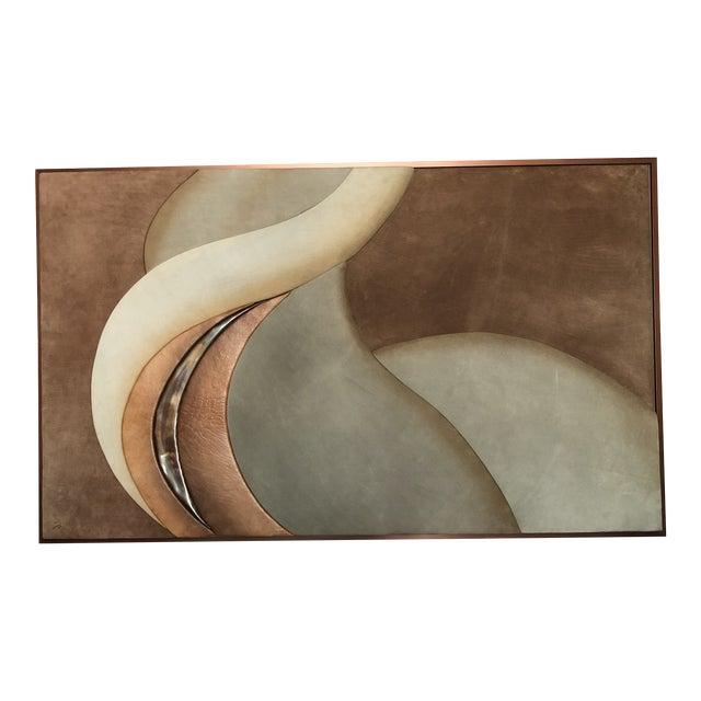 1970s Modern Suede Leather Framed Artwork Signed M For Sale