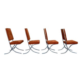 Rust Cut Velvet and Chrome Chairs, '70s For Sale