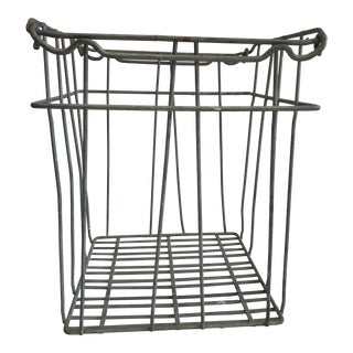 1950s French Country Galvanized Wire Milk Crate With Side Handles For Sale