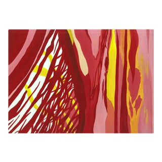 1970s Abstract Red and Yellow Painting For Sale