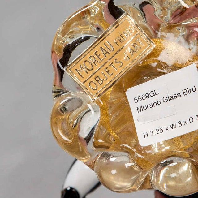 1970s Mid-Century Murano Art Glass Blackbird on Gold Base For Sale - Image 5 of 5