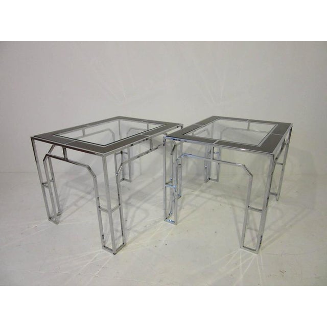Chrome Milo Baughman Chrome Glass and Wood Side Tables - a pair For Sale - Image 7 of 9