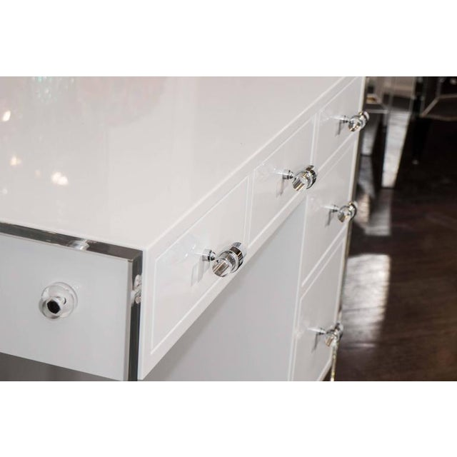2010s White High Gloss Lacquer Desk with Lucite Side Panels For Sale - Image 5 of 7