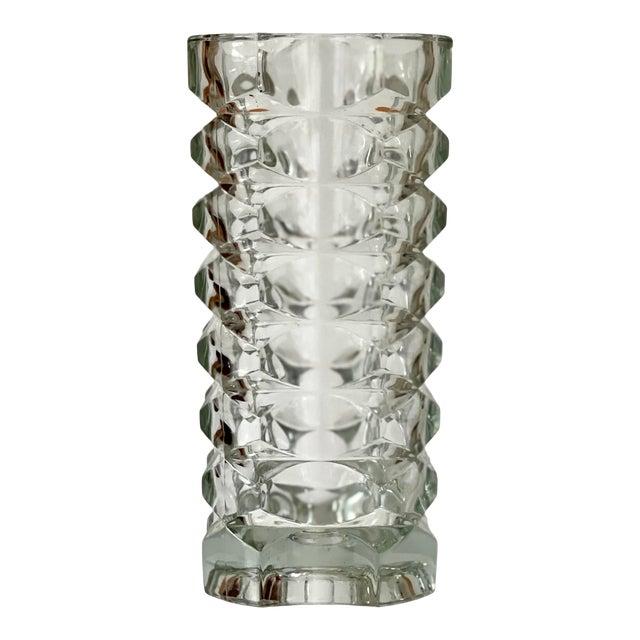 Vintage Art Deco Geometric Pattern Heavy Cut Crystal Luminarc France Art Glass Windsor Vase For Sale