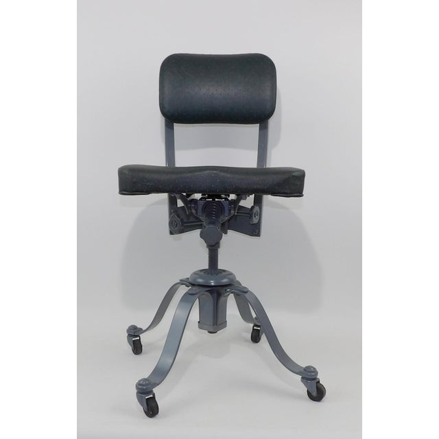 Metal Remington Rand Mid-Century Adjustable Mechanical Age Industrial Office Chair For Sale - Image 7 of 11
