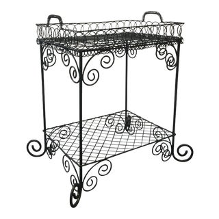 Vintage Metal Wire Garden Tea Tray Table For Sale