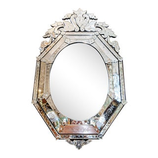 Antique Italian Beveled & Etched Venetian Mirror For Sale