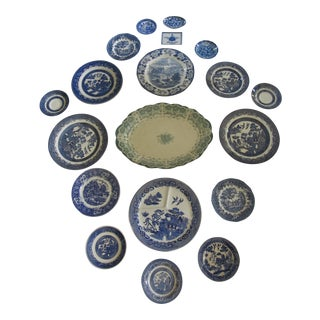 White & Blue Transfer-Ware Plates - 19 Pieces For Sale