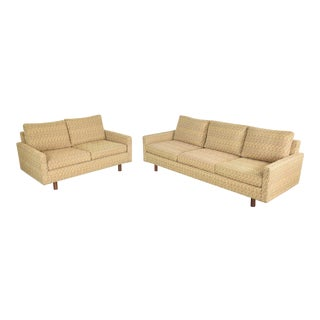 Mid Century Modern Sofa & Love Seat Pair Gold Lawson Style After Harvey Probber 1960 For Sale