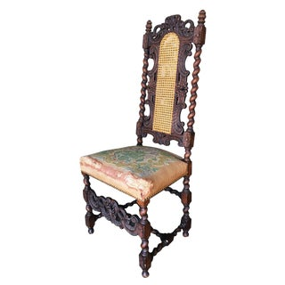 Victorian Hand Carved Oak Gothic Revival Side Throne Chair For Sale