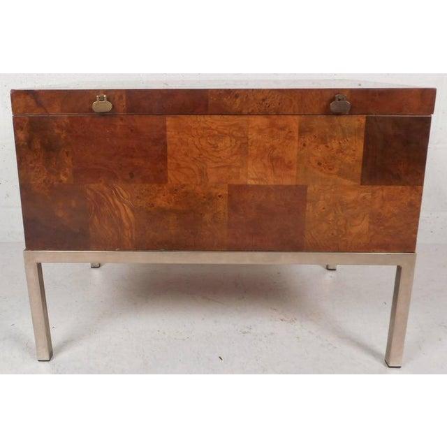 Mid-Century Modern Lane Furniture Mid-Century Modern Burl Storage Box with Chrome Base For Sale - Image 3 of 11