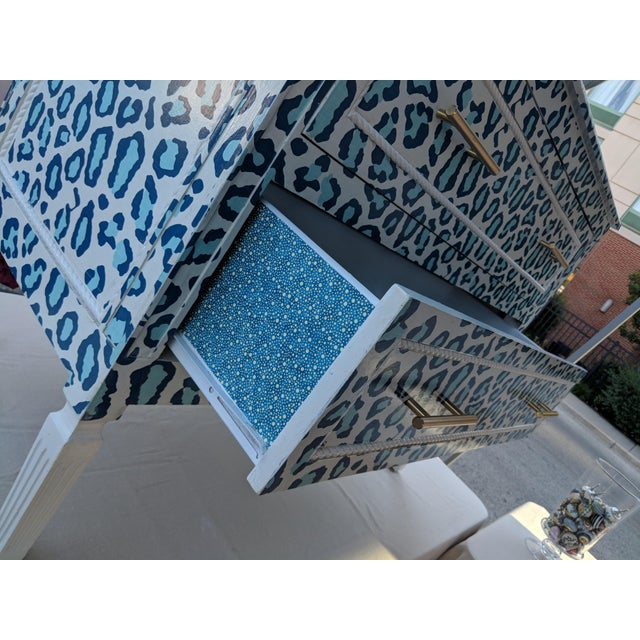 Boho Chic Luxecycled Blue Cheetah Dresser For Sale - Image 3 of 5