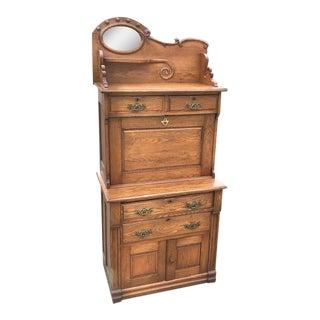 Early 20th Century Victorian Oak Drop Front Secretary Desk For Sale