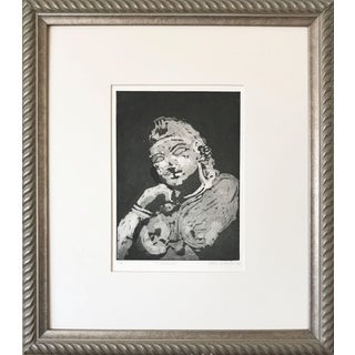 "Vintage Etching ""Stripuja"" of an Indian Temple Figure by Leslie Wayne 1972 For Sale"