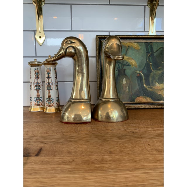 Vintage Mid Century Modern Oversized Brass Mallard Duck Bookends - a Pair For Sale In Los Angeles - Image 6 of 8