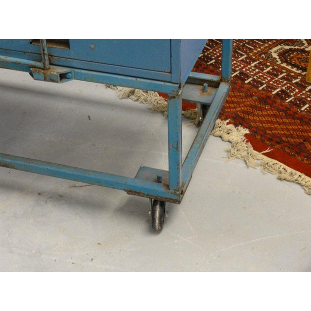 Vintage Blue Industrial Metal Cabinet - Image 8 of 11