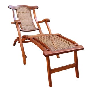 Early 20th Century Caribbean Martinique Mahogany and Cane Folding Deck Chair For Sale