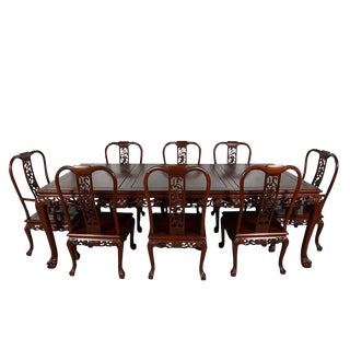 Vintage Chinese Carved Rosewood Dining Set