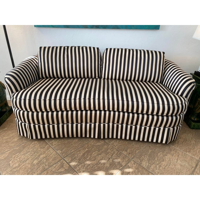 Stunning Hollywood Regency custom black and cream stripe loveseat by Isenhour for Robb & Stucky. Pillows are not included...