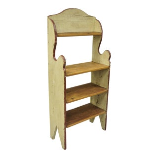 Country French Distress Painted Cream & Red Pine Wood Cupboard / Bookcase Stand For Sale