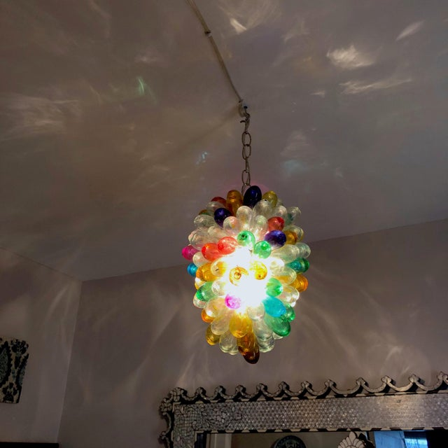 Bright Colors of Light Fixture of Recycled Hand Blown Glass For Sale - Image 9 of 11