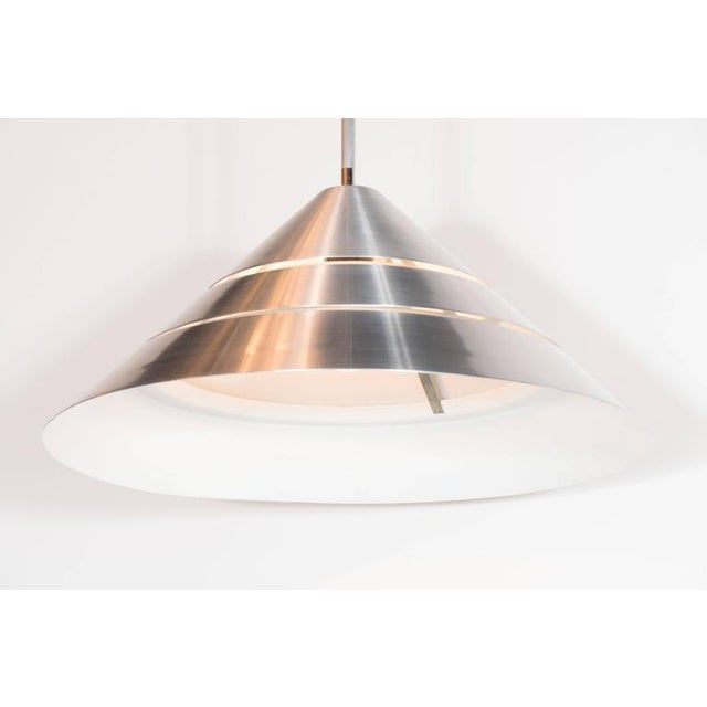 Metal Mid-Century Brushed Aluminum Cone Ceiling Pendant by Hans-Agne Jakobsson For Sale - Image 7 of 8