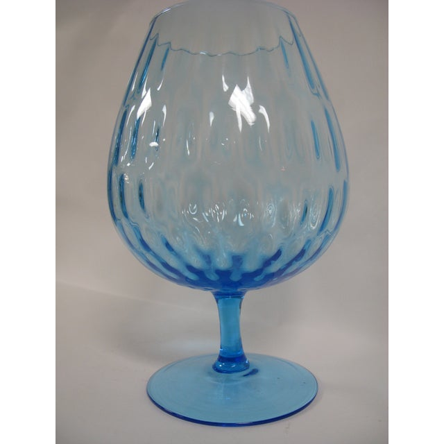 1960s Empoli Aqua Blue Optic Glass Snifter Vase For Sale In Charleston - Image 6 of 13