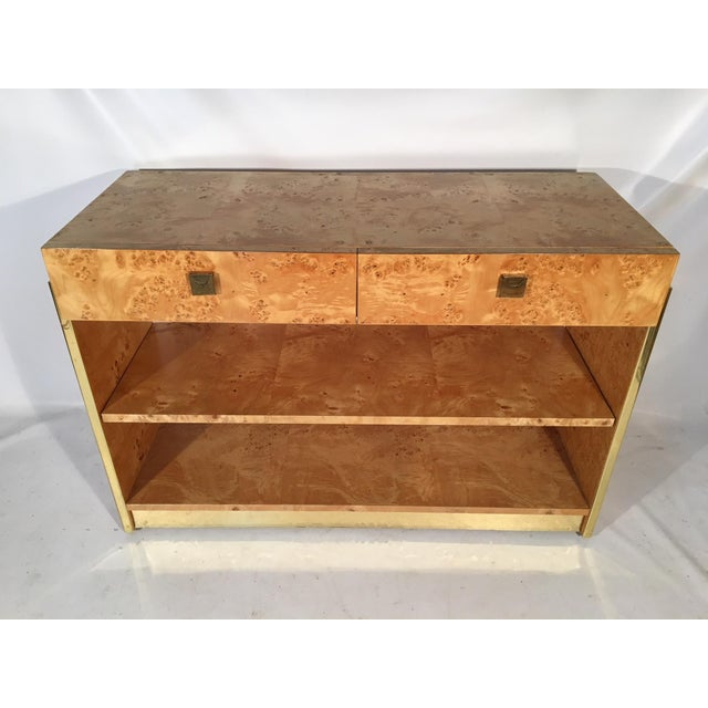 Burl Wood and Brass Rolling Server For Sale - Image 4 of 10