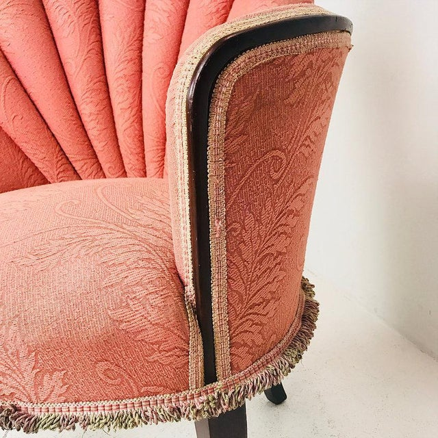Pink Pair of 40's Deco Opposing Channel Back Chairs For Sale - Image 8 of 10