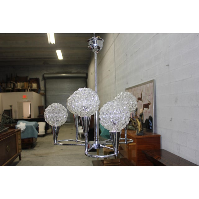 Art Deco Circa 1960s French Mid Century Six Light Chrome Chandelier For Sale - Image 3 of 11