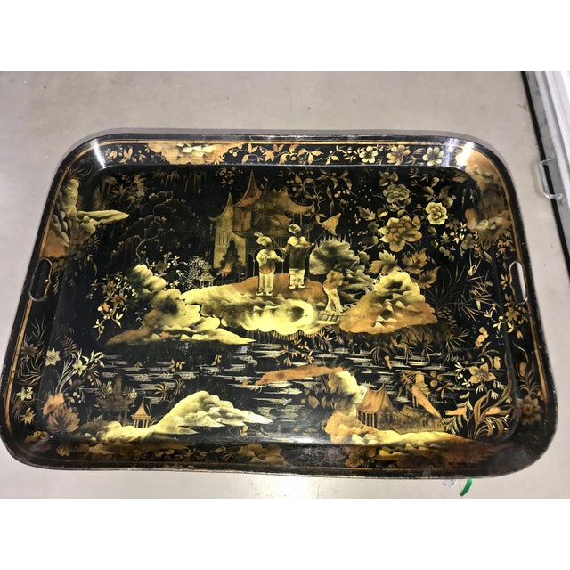 Asian 19th Century Chinoiserie Black and Gold Wood Tray Table For Sale - Image 3 of 4