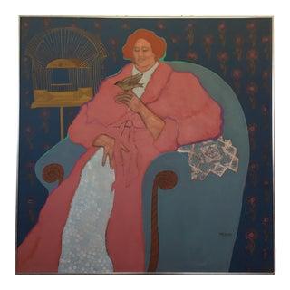 "1970s Impressionism Original Acrylic Painting on Canvas, ""Lady With Bird"" by Leslie Trewyn"